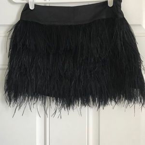 BEBE SILK AND REAL FEATHER SKIRT